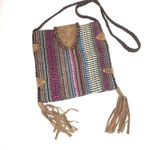 Antik Kraft Tapestry Tassels Boho Crossbody Purse